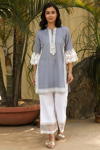 Pewter Grey Scallop Mesh Kurta Set