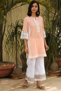 Peach Scallop Mesh Kurta Set