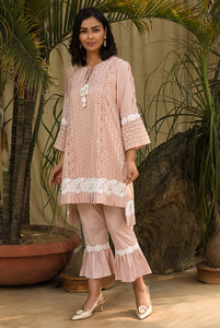 Salmon Eyelet Pleat Kurta Set