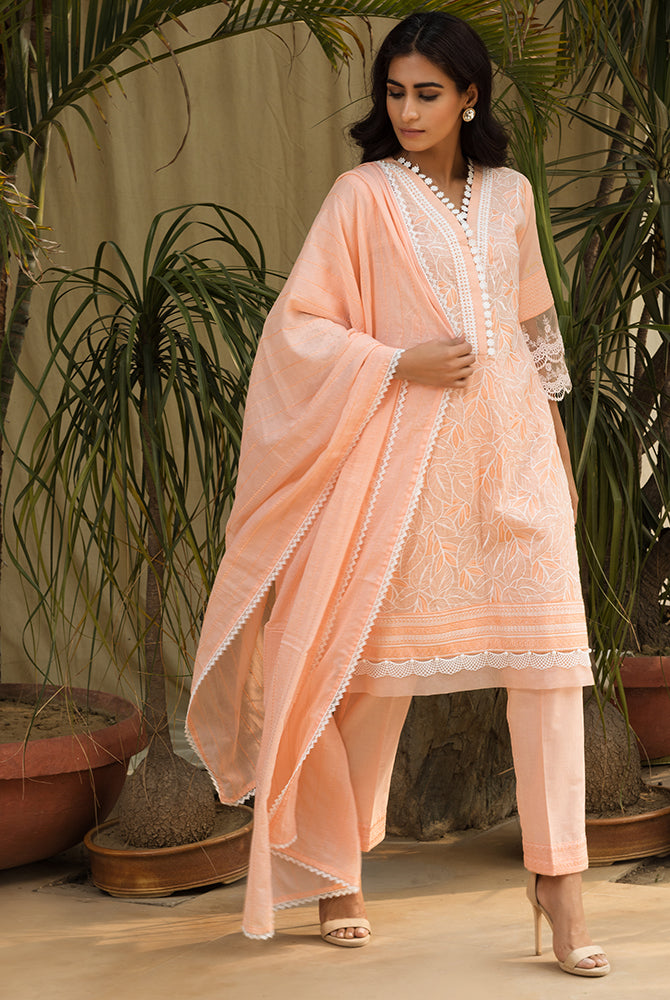 Peach Flora Mesh Cotton Set