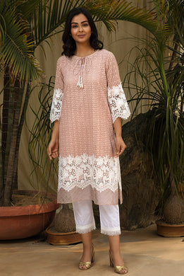 Salmon Lace Pearl Kurta Set