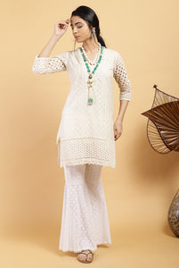 Ivory Ladder Lace Kurta