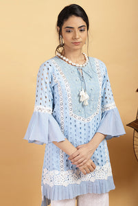 Aqua Pleat Kurta Set