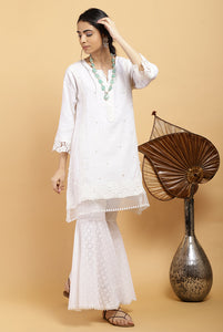 Pearl Open Mesh Kurta Set