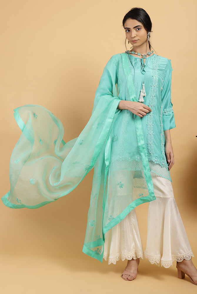 Turquoise Pearl & Mesh Pure Silk Set