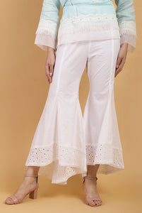 Pearl Cut-Work Hem Pants