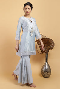 Aqua Minar Chanderi Silk Kurta Set