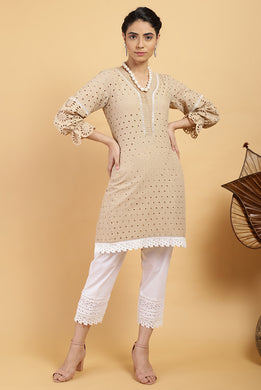 Reva Ecru Cut-work Kurta Set