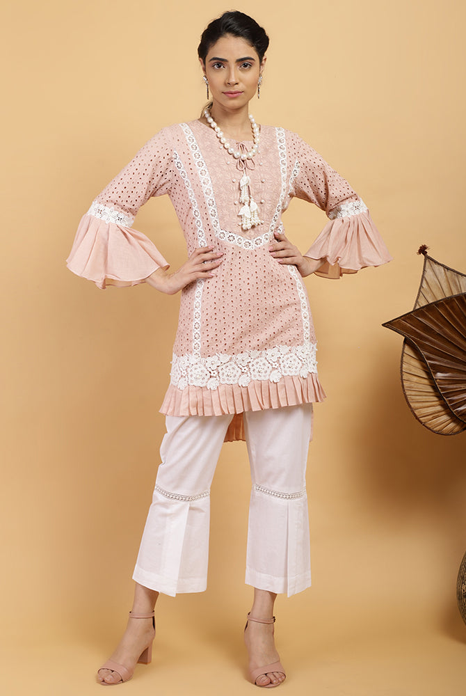 Salmon Pleat Kurta Set