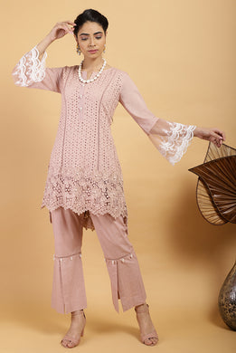 Salmon Scallop Mesh Kurta Set