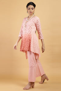 Peach & Crimson Ombre Kurta Set