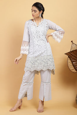 Cloud Scallop Mesh Kurta Set