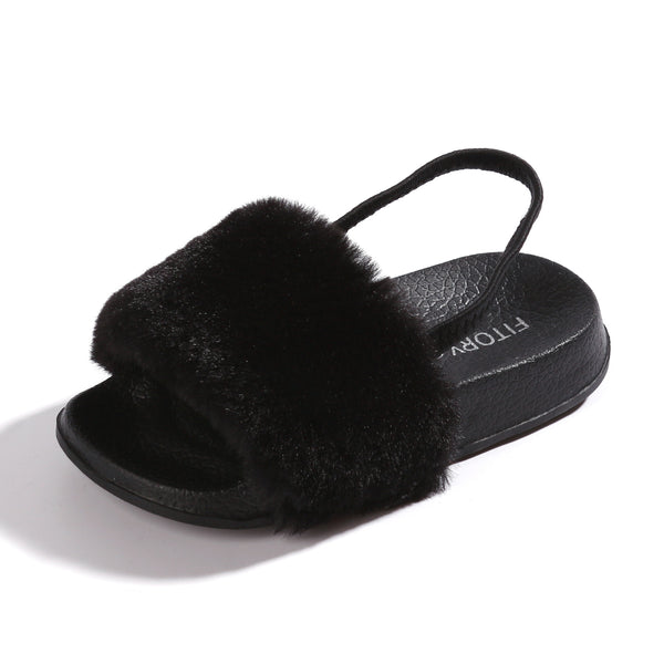 Girl's Faux Fur Slides With Elastic