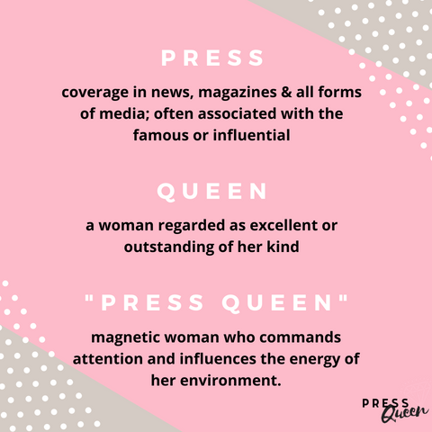 """this image defines the brand Press Queen Collection by explaining what a """"Press Queen"""" is"""