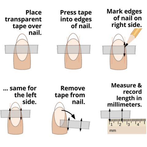 how to measure your own natural nail beds for the perfect sized press on nails from Press Queen Nails