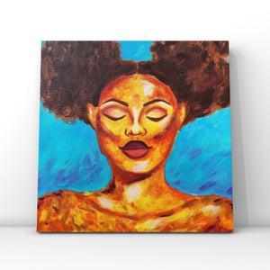 Abstract Portrait Orange Blue Acrylic Painting