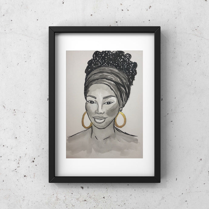 African American Woman Art, Pen and Ink Illustration