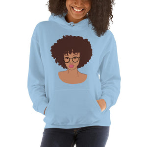 Afro Black Girl Hoodie Light Blue S