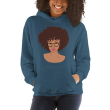 Load image into Gallery viewer, Afro Black Girl Hoodie Indigo Blue S