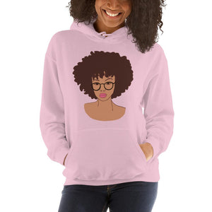 Afro Black Girl Hoodie Light Pink S