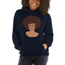Load image into Gallery viewer, Afro Black Girl Hoodie Navy S