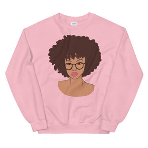 Afro Black Girl Magic Sweatshirt Light Pink S