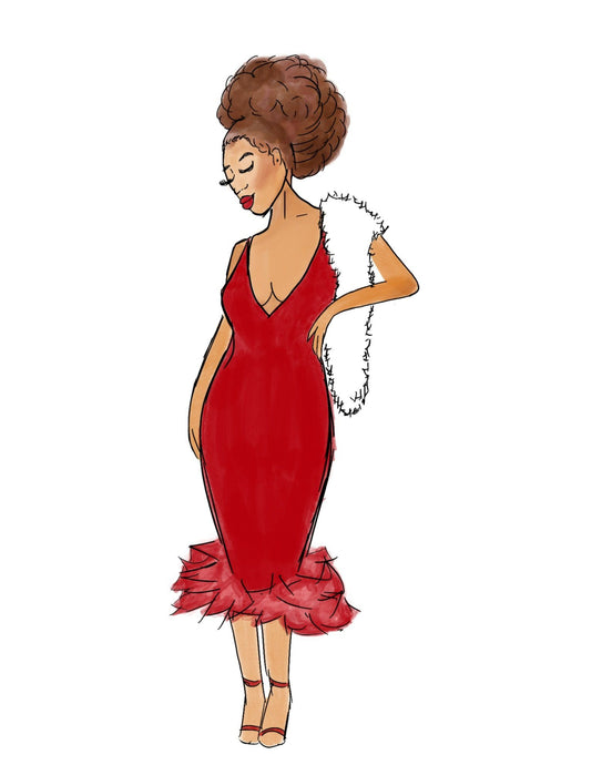 Afro Red Dress Art Print