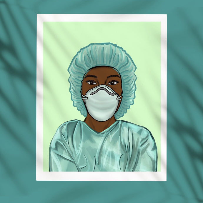 Black Healthcare Worker Digital Art Print