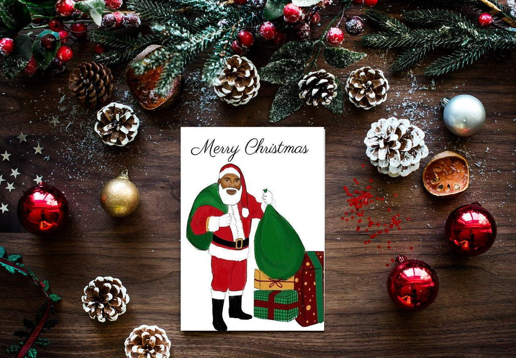 Black Santa Christmas Cards