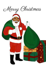 Load image into Gallery viewer, Black Santa Christmas Cards