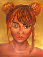 Load image into Gallery viewer, Gold Black Woman Acrylic and Oil Painting