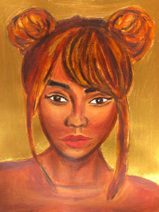 Gold Black Woman Acrylic and Oil Painting