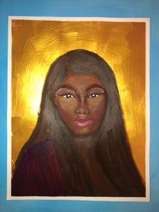 Golden Black Girl Acrylic and Oil Painting