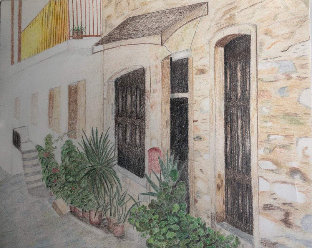 Greece Inspired Landscape Color Pencil Drawing