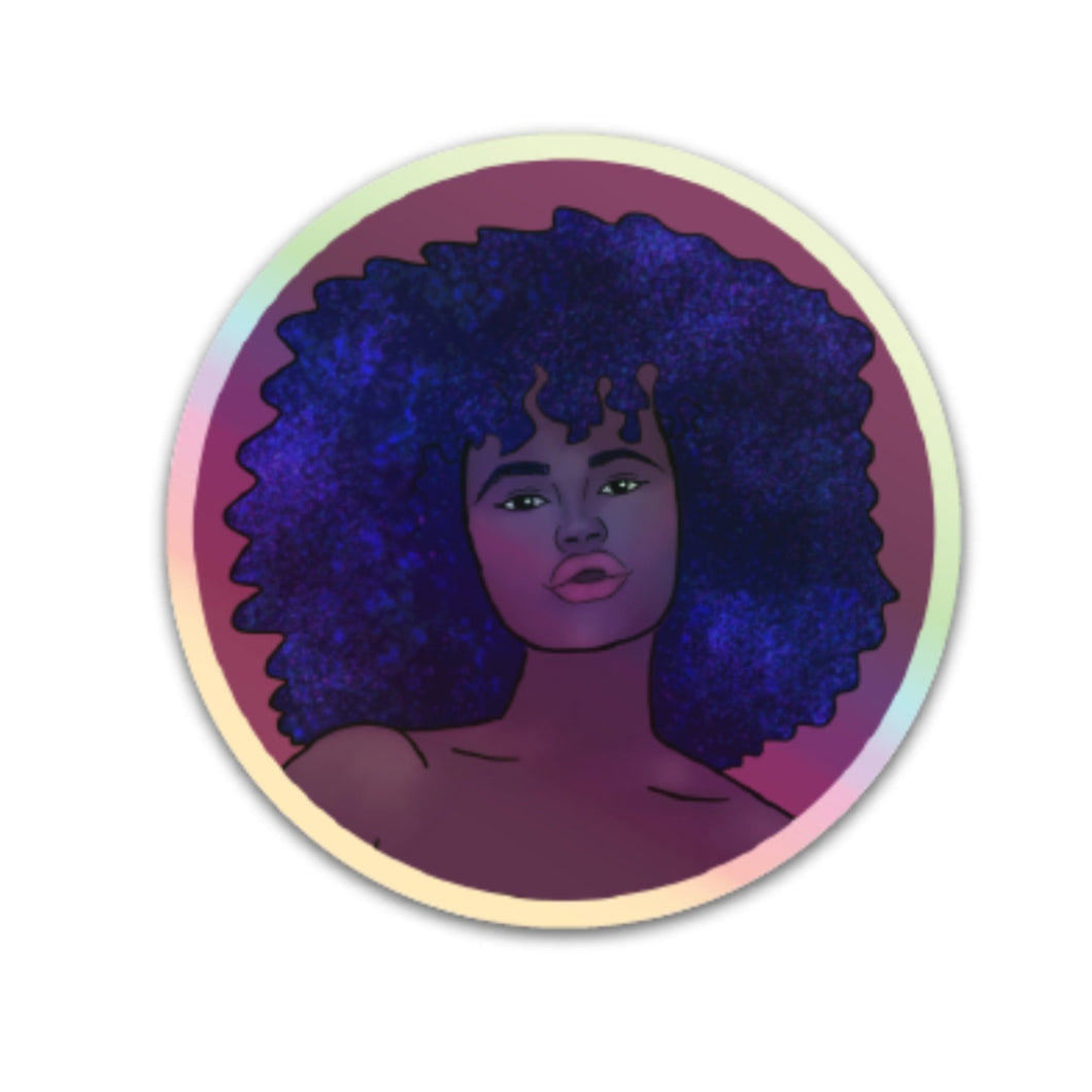 Holographic Afro Galaxy Sticker