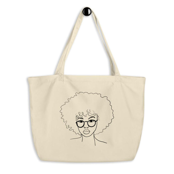Minimalist Afro Curly Hair Large Organic Tote Bag