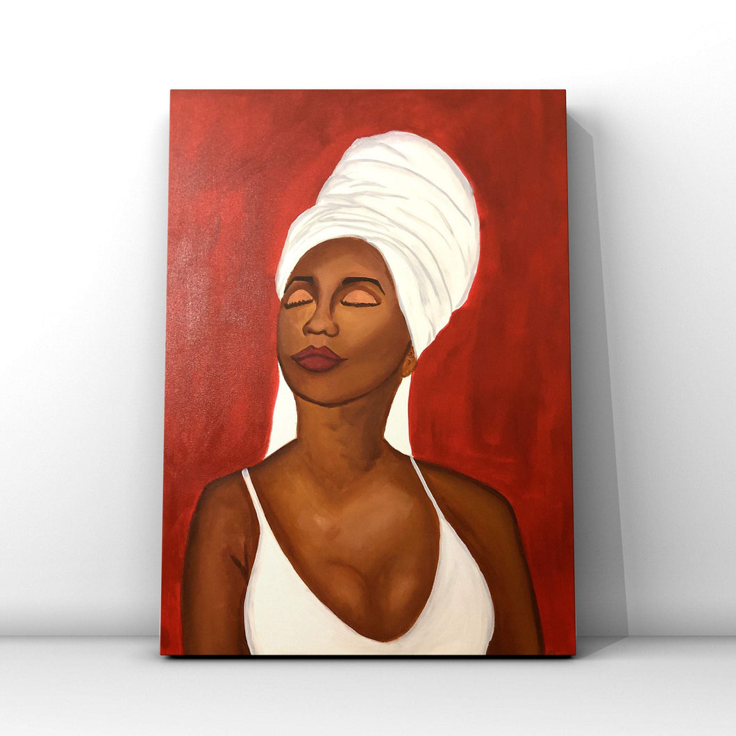 Red African American Woman Acrylic Painting