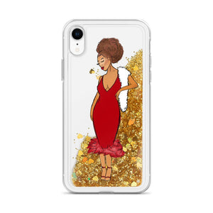 Red Afro Glamour Liquid Glitter iPhone Case Gold iPhone XR