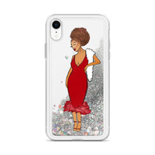 Load image into Gallery viewer, Red Afro Glamour Liquid Glitter iPhone Case Silver iPhone XR