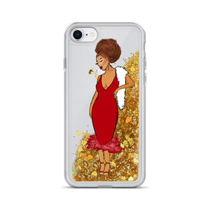 Red Afro Glamour Liquid Glitter iPhone Case Gold iPhone 7/8