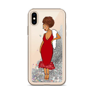 Red Afro Glamour Liquid Glitter iPhone Case Silver iPhone X/XS