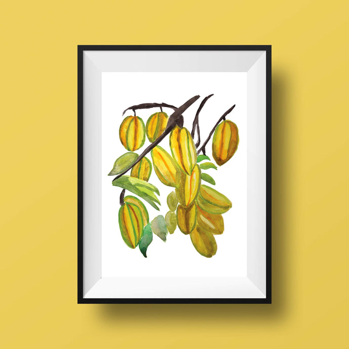Star Fruit Watercolor Painting