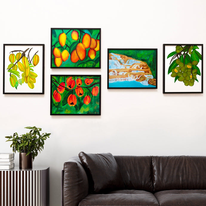 Tropical Fruits Art Print Bundle Set of 5 Prints