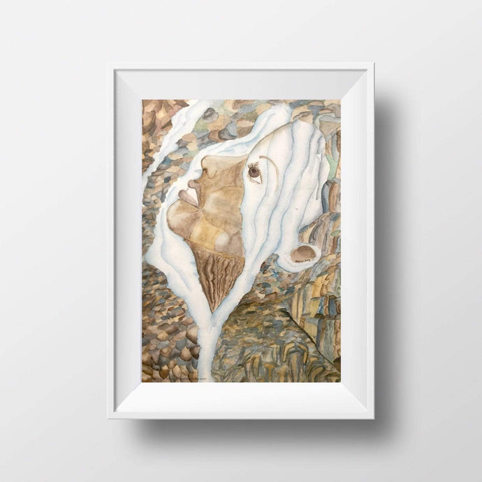 Waterfall Face in Nature Watercolor Art Print