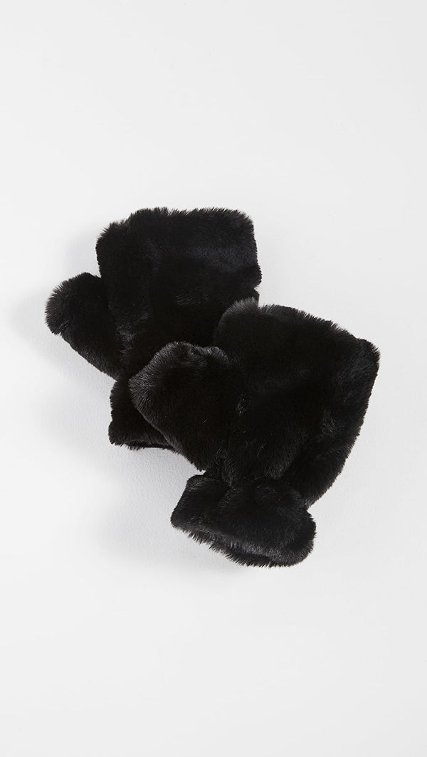 Ariel Faux Fur Fingerless Gloves - Noir