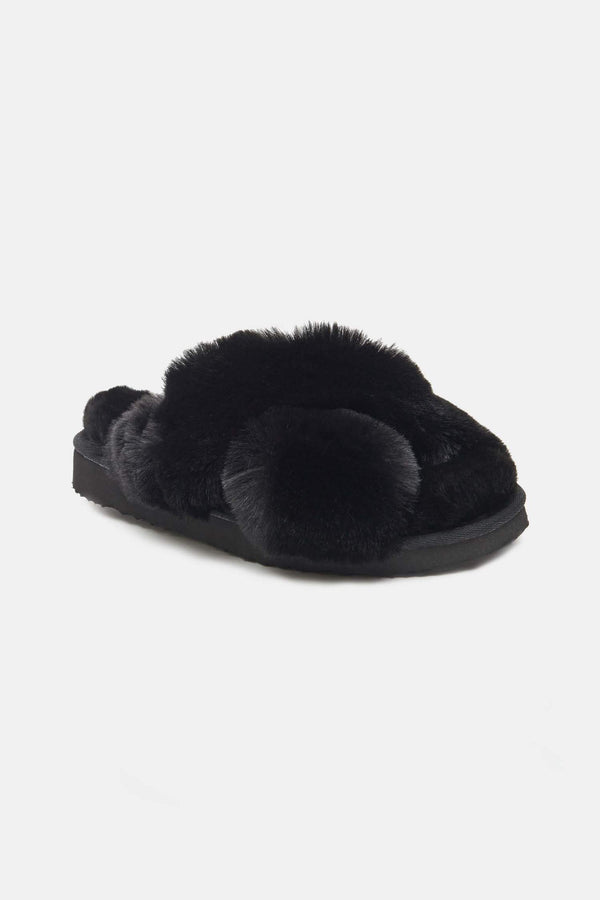 Elsa Faux-Fur Slippers - Noir