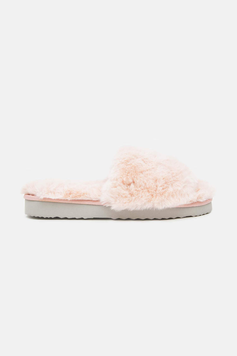 Jasmine Faux-Fur Slippers - Blush