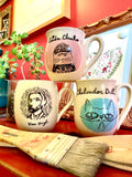 Set of three artist Mugs inspired by Frida Kahlo, Vincent Van Gogh and Chalvador Dali