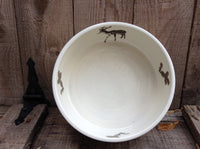 service or cooking bowl with a birch design and deer for the chalet.Baking dish.