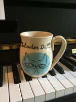 Salvador Dali Mug with a grumpy cat, inscription inside Chalvador Dali